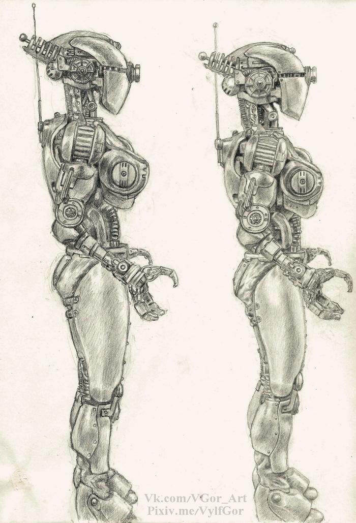 Рисунки практика Fallout, Fallout 4, Коготь смерти, Штурмотрон, Pencilart, Длиннопост