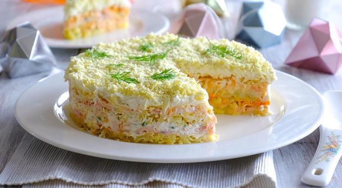 Салат Мимоза с горбушей Салат, Рецепт, Вкусно, Приготовление