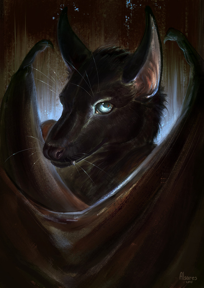 Azrael Фурри, Furry Art, Антро, Furry bat, Портрет, Alsares