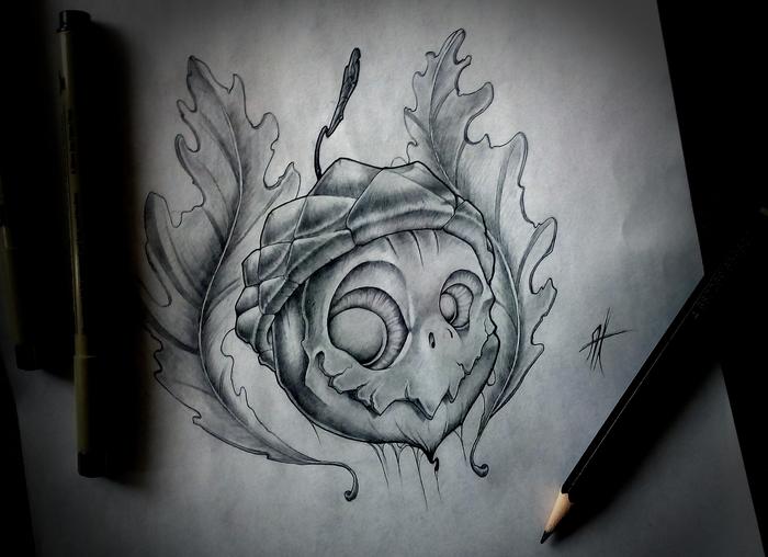 Жёлудь Рисунок карандашом, Желудь, Дуб, Персонажи, Существа, Рисунок, Графика