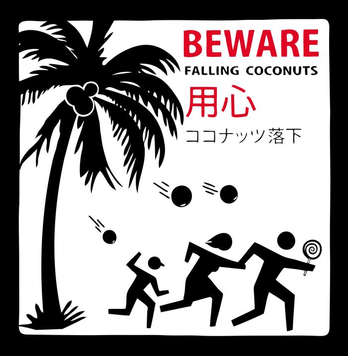 Кокосы-убийцы Гонолулу, Гавайи, Кокос, Опасность, Предупреждение, Знаки