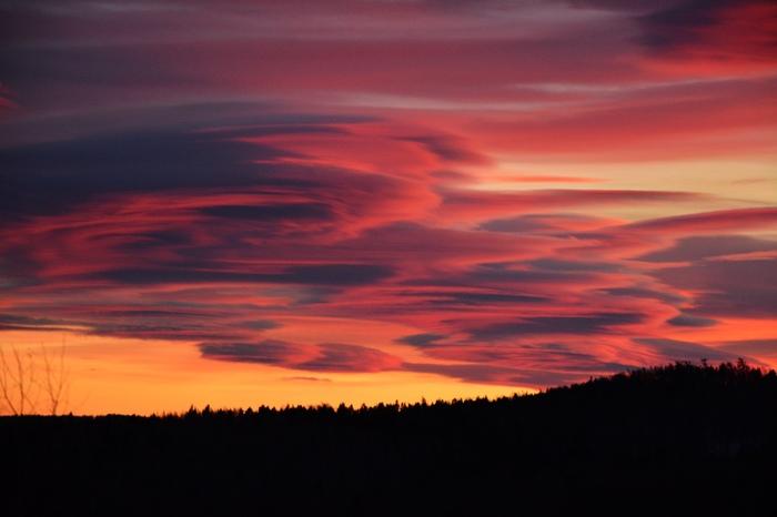 Лентикулярные облака на закате Лентикулярные облака, Облака, Закат, Пейзаж, Слюдорудник, Южный Урал, Фотография, Природа