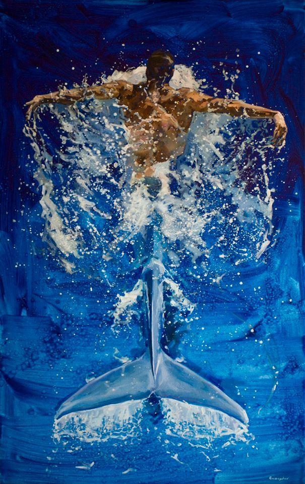 """""""Вода"""" Арт, Живопись, Вода, Gnievyshev, Картина маслом, Картина, Пловцы, Хвост"""