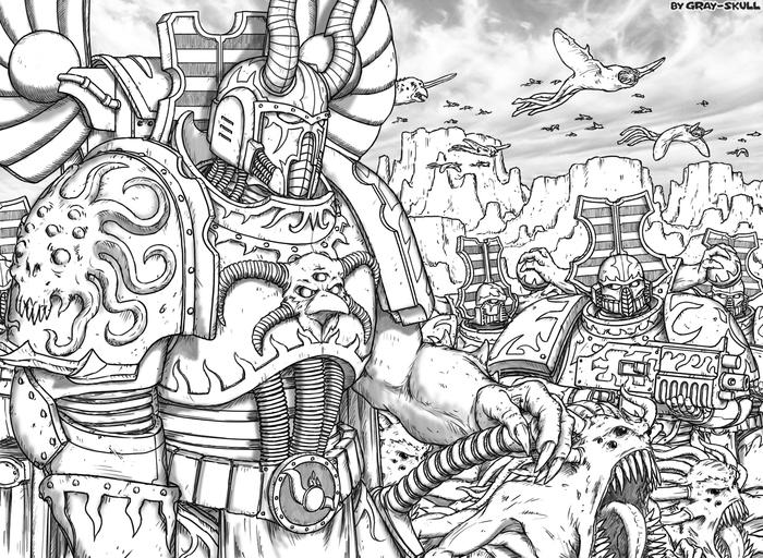 Колдун тысячников выгуливает своих пепельных истуканов. Неизвестная планета, 846.M41, цвета не восстановлены (by Gray-Skull) Warhammer 40k, Gray-Skull, Thousand Sons, Chaos Space marines, Хаос, Арт, Картинки