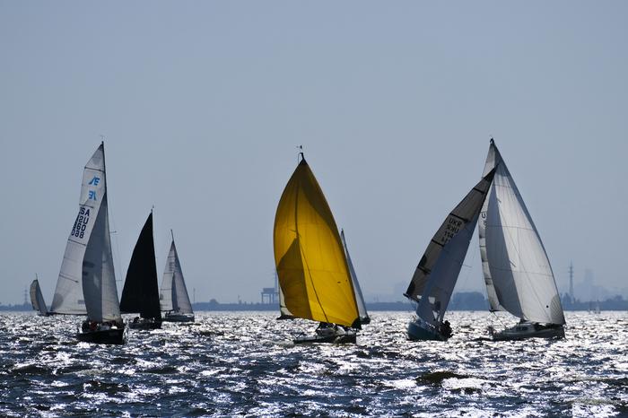 В гонке. Яхта, Регата, Гонки, Парус, Вода, Река, Фотография