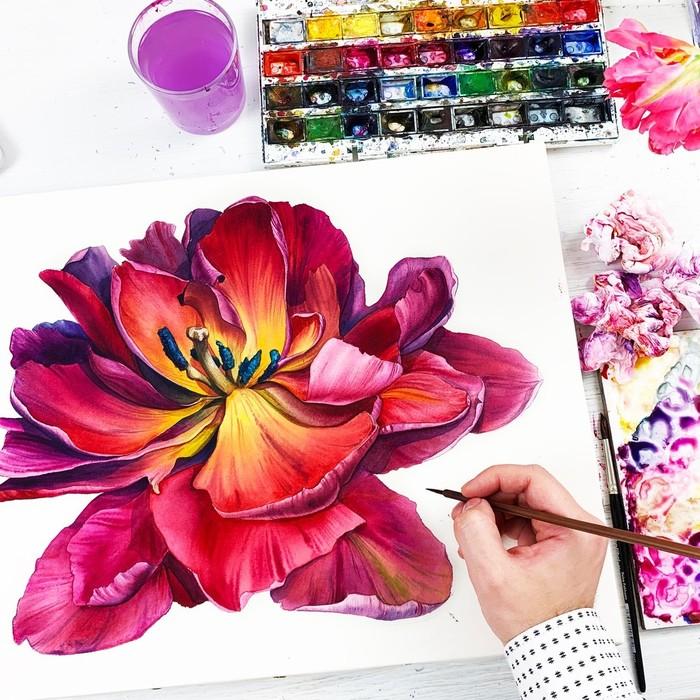 Тюльпан Акварель, Тюльпаны, Весна, Рисунок, Живопись, Видео, Длиннопост, Процесс рисования, Цветы, Гиперреализм