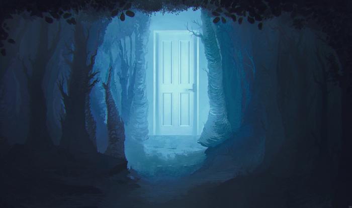 """Пути между двух душ"" + процесс создания I Вечернее творчество Рисунок, Творчество, Арт, Цифровой рисунок, Дверь, Лес, Гифка"