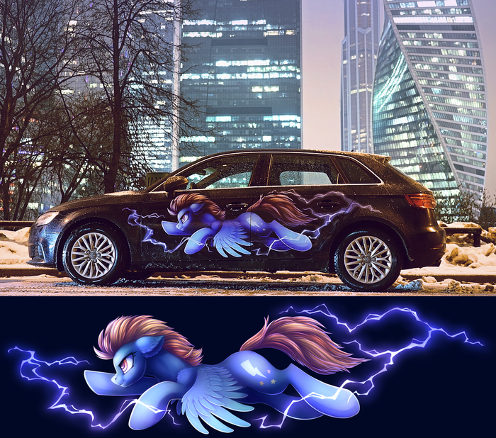 Лайтнинг Даст My Little Pony, Lightning Dust, Audi A3, Аэрография, Москва, Авто