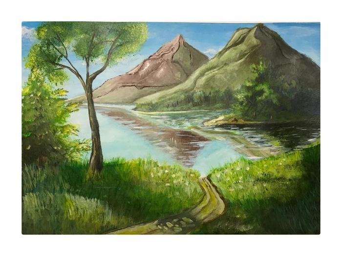 Продолжаю рисовать. Художник-Самоучка, Пейзаж, Акрил, Рисунок, Природа, Озеро, Горы