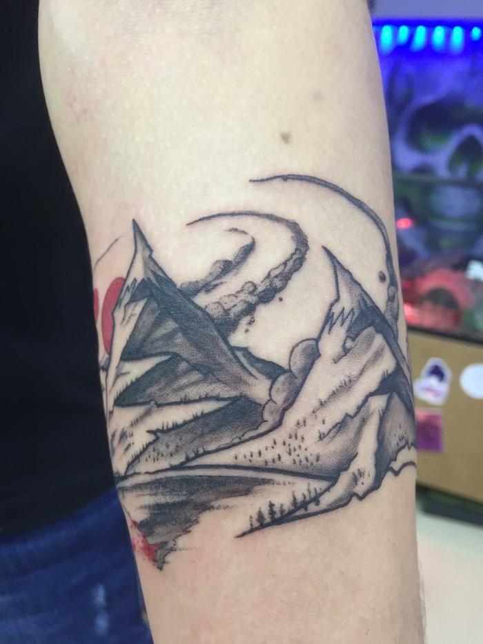 Горный браслет Тату, Горы, Браслет, Dotwork, Эскиз татуировки, Эскиз, Рисунок карандашом, Misty mountains, Длиннопост
