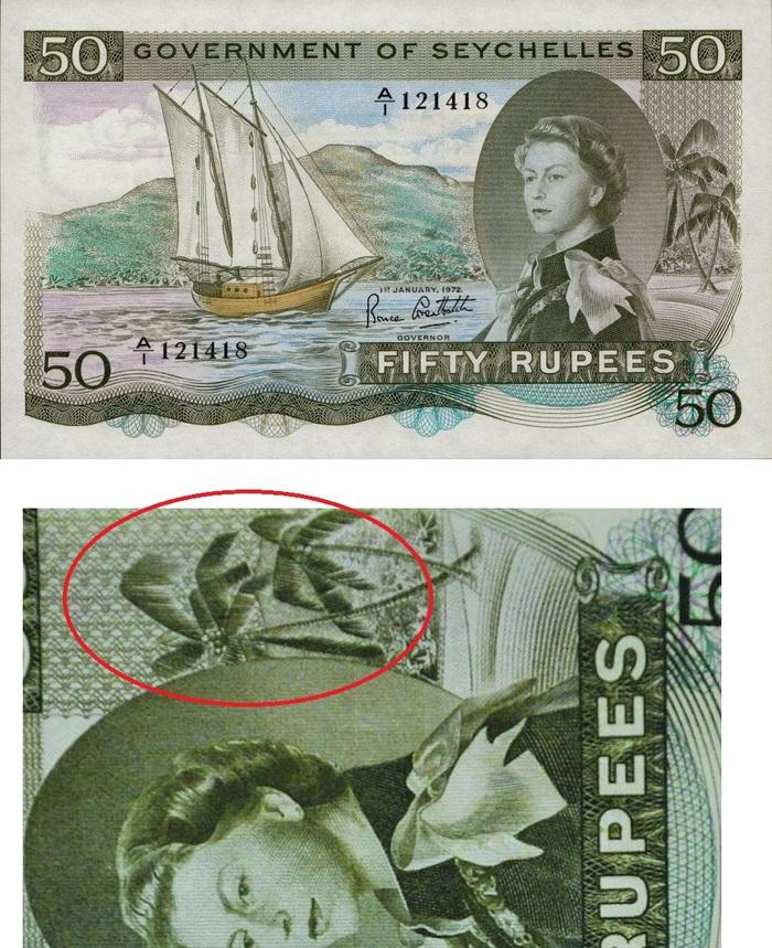 """""""Sex"""" около королевы. Ошибка на банкнотах Сейшел Банкноты, Сейшелы, Ошибка"""