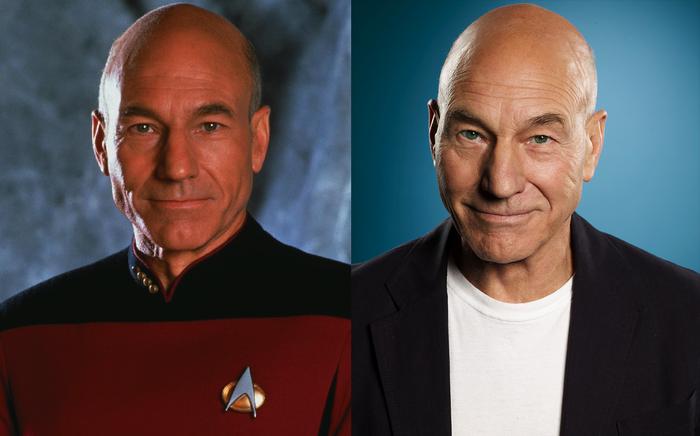 30 лет спустя Патрик Стюарт, Star Trek, Актеры, Старение, Снимок, 30 лет спустя, Спустя годы, Знаменитости