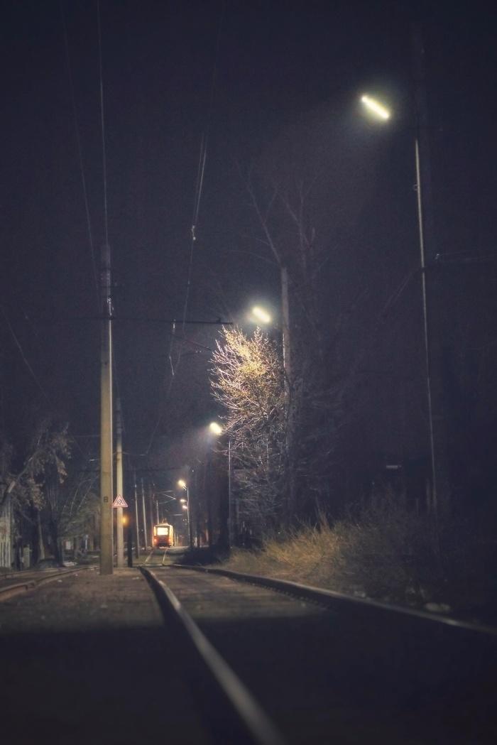 Последний трамвайчик Фотография, Ночь, Эстетика ебеней, Трамвай, Барнаул