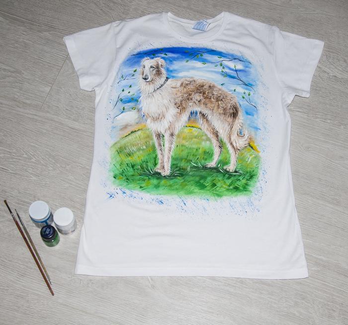 Собачки, ручная роспись футболки Лес, Собака, Ручная роспись футболки, Роспись, Мода, Стиль, Одежда, Длиннопост