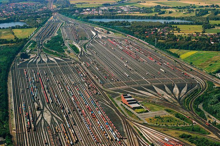 """Сортировочная """"Ясиноватая"""" Сортировочная станция, Железная дорога, Rangierbahnhof Maschen, Германия, Гамбург"""