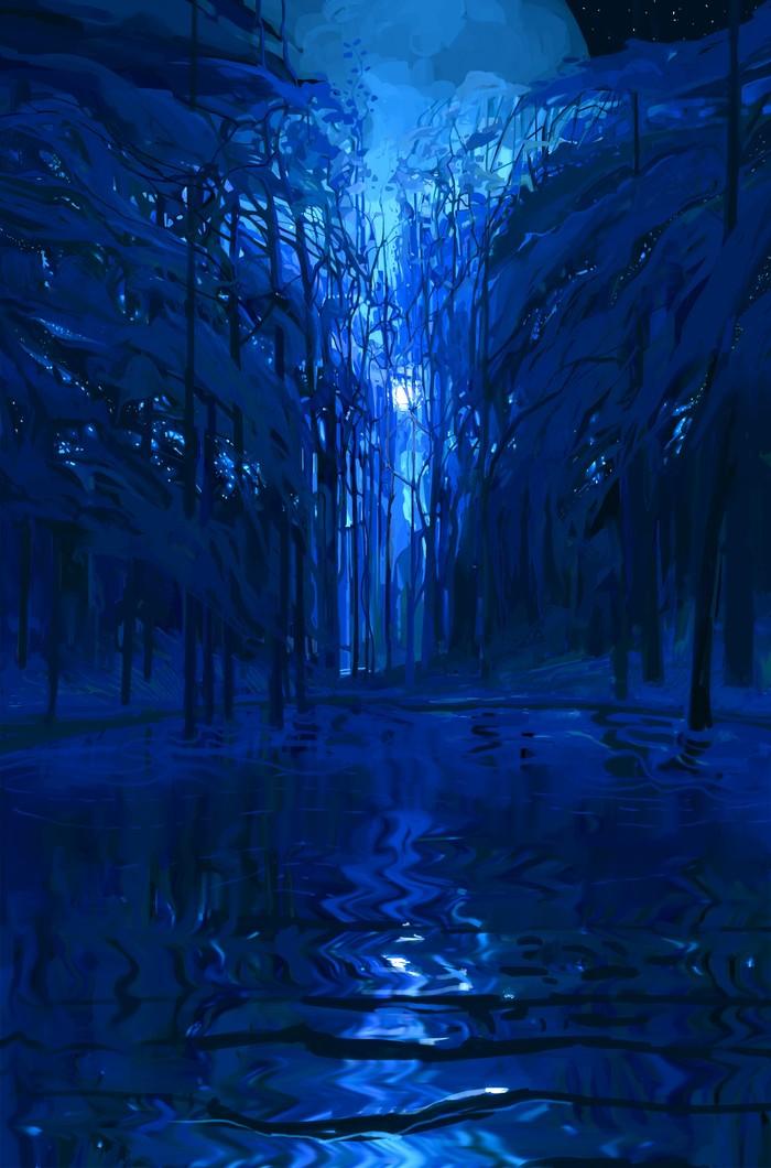 Ночь Photoshop, Цифровой рисунок, Рисунок, Арт, Ночь, Пейзаж, Вода, Лес
