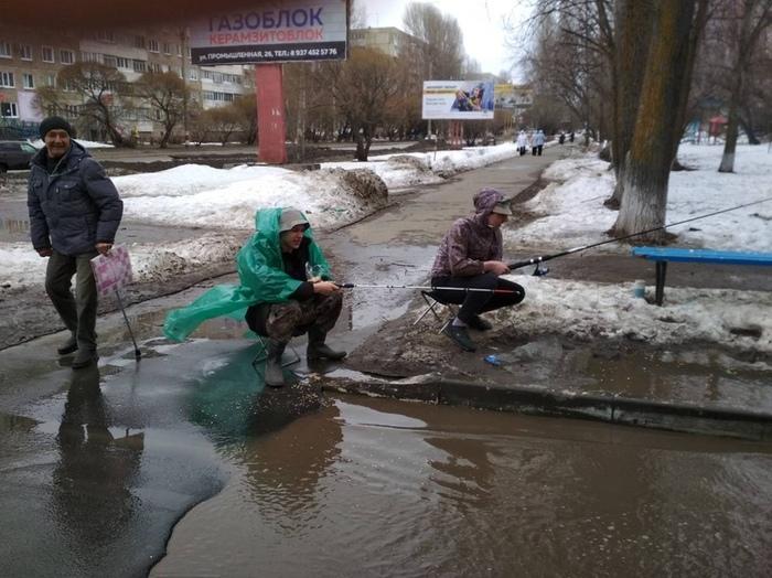 В Ульяновской области открыли рыболовный сезон на городских дорогах Ульяновск, Ульяновская область, Димитровград, Рыбалка, Прикол, Российские дороги