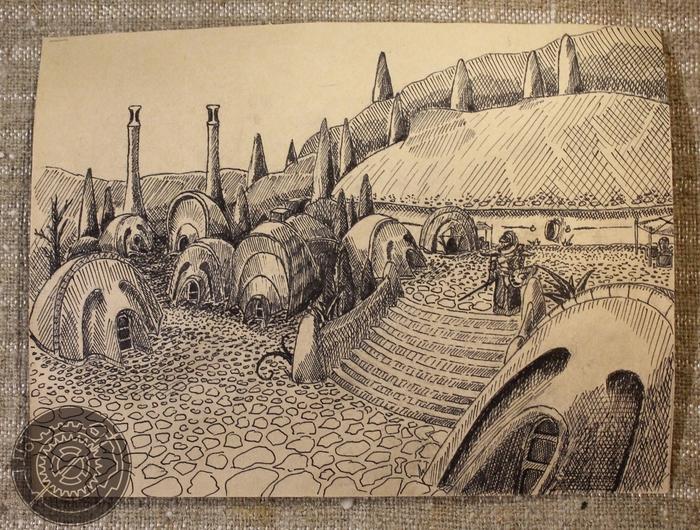 Виды Морровинда Morrowind, The Elder Scrolls, Рисунок ручкой, Длиннопост