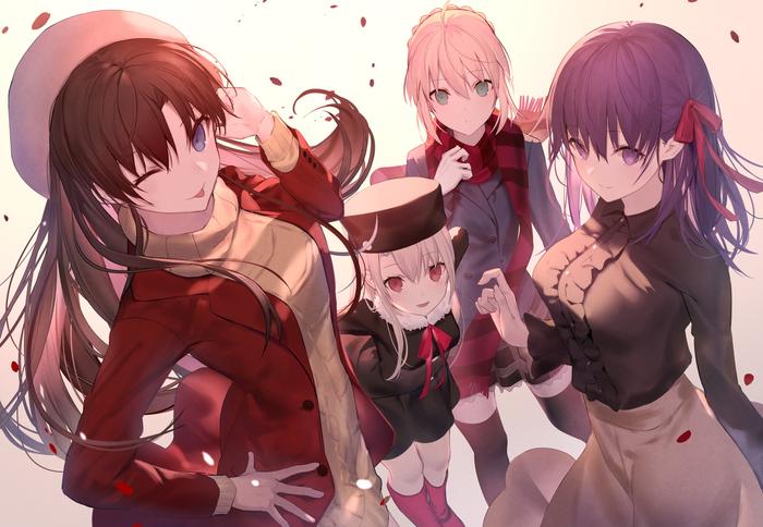 Anime Art №1663 Аниме, Anime Art, Fate, Fate-Stay Night, Artoria pendragon, Illyasviel Von Einzbern, Matou Sakura, Tohsaka Rin