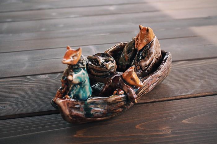 Моя керамика. Семья лисов в лодке. Лиса, Скульптура, Керамика, Длиннопост