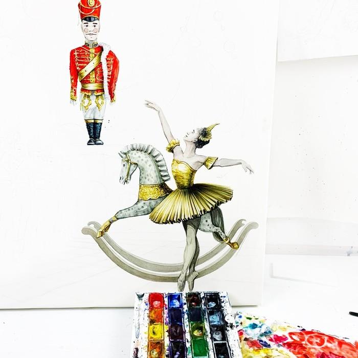 Щелкунчик V. 2.0 Акварель, Щелкунчик, Рисунок, Живопись, Балерины, Ёлка, Новый Год, Длиннопост, Сказка