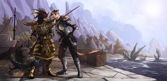 Рыбалка, в это время? The Elder Scrolls, Аргониане, Каджит, Quarter-Virus, Арт, Игры