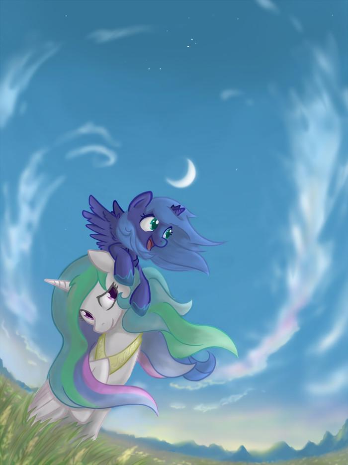 High My Little Pony, Princess Luna, Princess Celestia, Onkelscrut, Сестры, Селестия и Луна, Принцесса селест