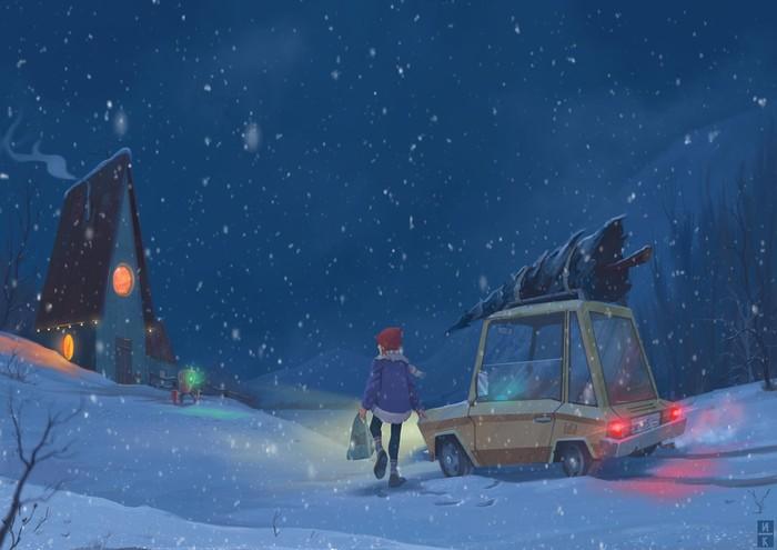 Гори моя душа Рисунок, Ночь, Мечта, Девушки, Иллюстрации, Зима, Арт, Длиннопост, Цифровой рисунок