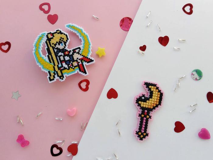 Вышитые значки Своими руками, Sailor Moon, Без баб, Вышивка, Вышивка крестом, Значок, Длиннопост, Рукоделие без процесса
