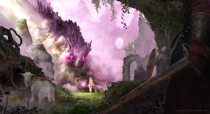 Kingdom Fall Дракон, Девушки, Фэнтези, Замок, Темное фэнтези, Dark Souls, Длиннопост