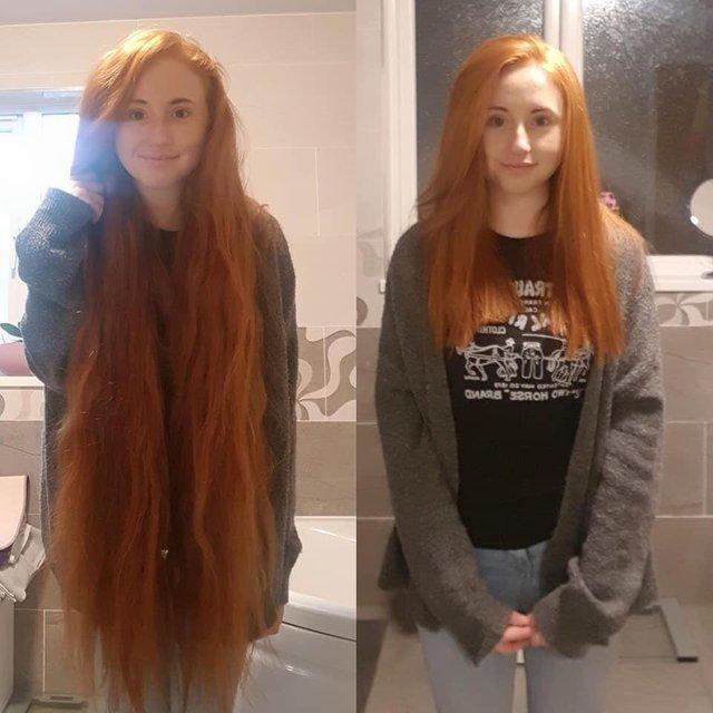 Пожертвовала часть своих волос на парики для детей больных раком Волосы, Парик, Рак, Пожертвования, Доброта