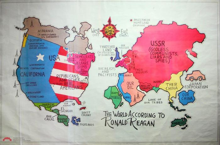 Мир 1985 года по версии администрации Рейгана Рональд Рейган, 1985, Юмор, Политическая карикатура, Без перевода