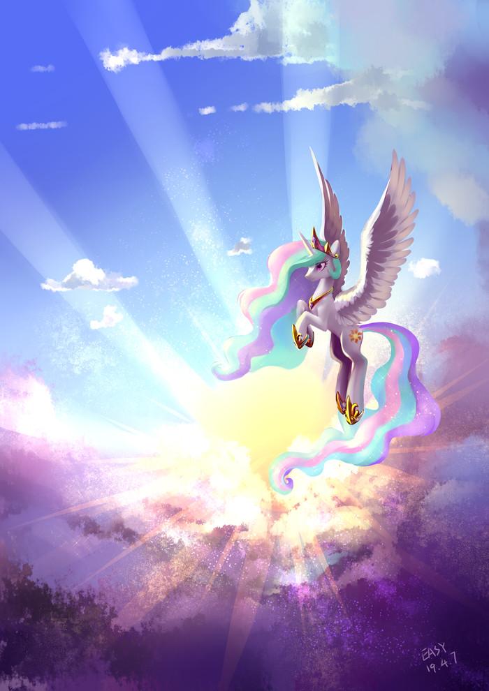 Princess Celestia My Little Pony, Princess Celestia, Солнце, Облака, Shu-Jeantte, Princess celes, Красота солнце, Или не солнце
