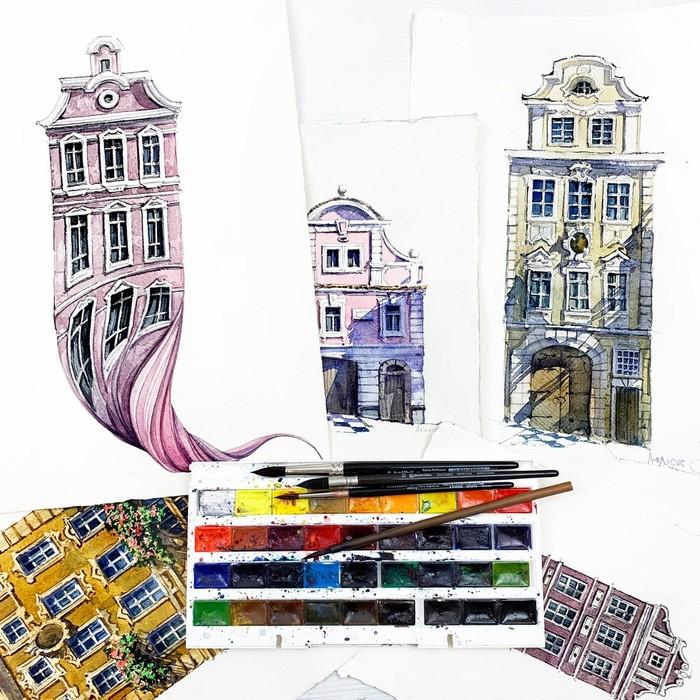 Акварельный марафон Акварель, Краски, Гифка, Длиннопост, Архитектура, Дом, Процесс рисования, Рисунок