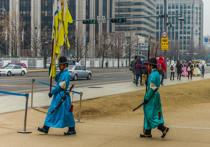 Смена караула во дворце Кёнбоккун Путешествия, Туризм, Сеул, Южная Корея, Кёнбоккун, Фотография, Длиннопост