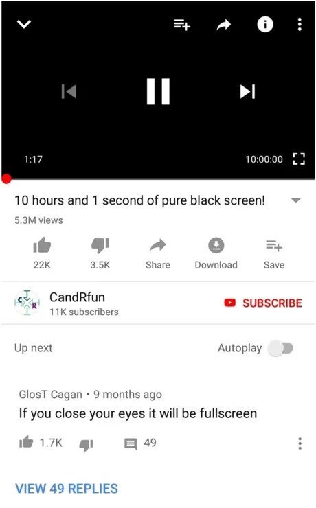 10 часов и 1 секунда чисто черного экрана Youtube, Юмор, Картинки, Комментарии