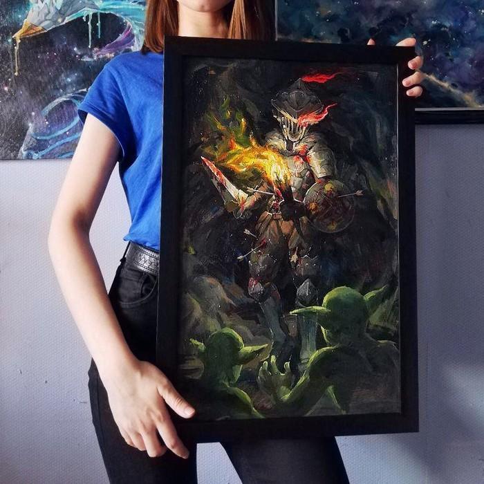 GOBLIN SLAYER Goblin Slayer, Rna1ssnc, Аниме, Картина маслом, Кровь, Видео