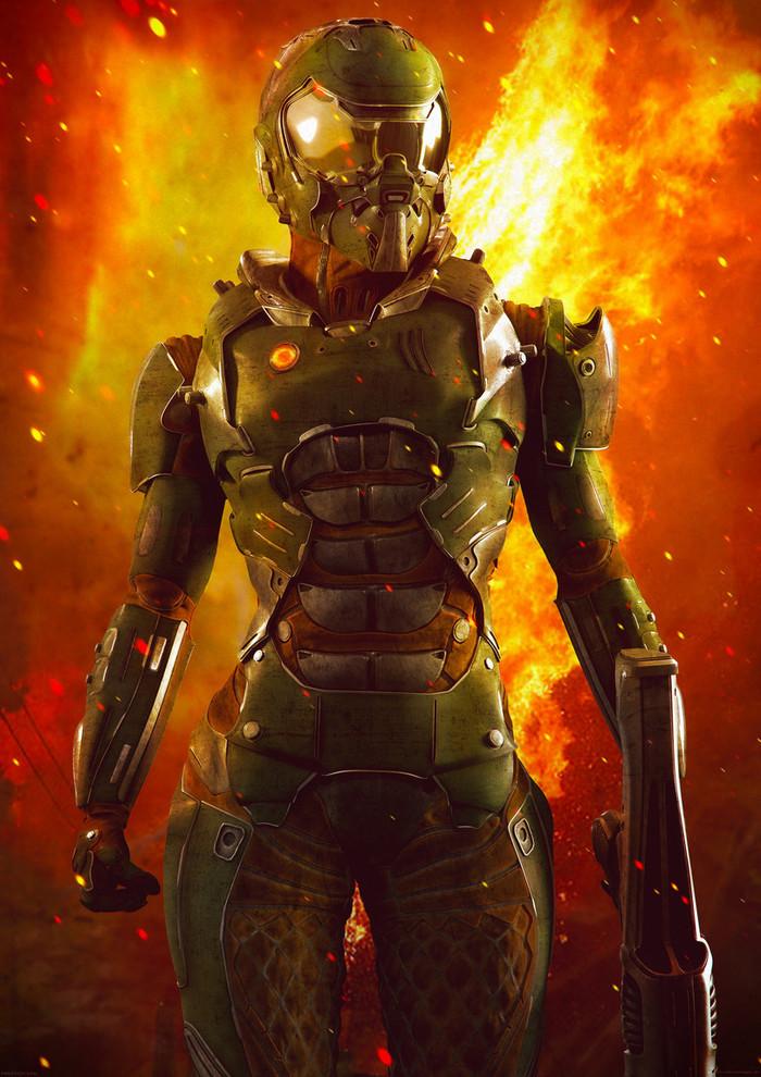 Вот такой героиня должна быть в экранизации. Doom, Игры, Экранизация, Арт, Правило 63, Мат