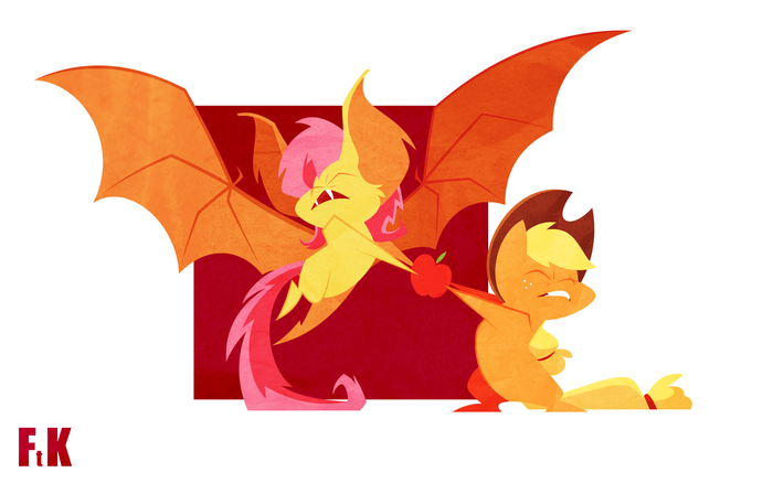 Sharing My Little Pony, Flutterbat, Applejack, Яблоки, Fluttershythekind, Fluttershy