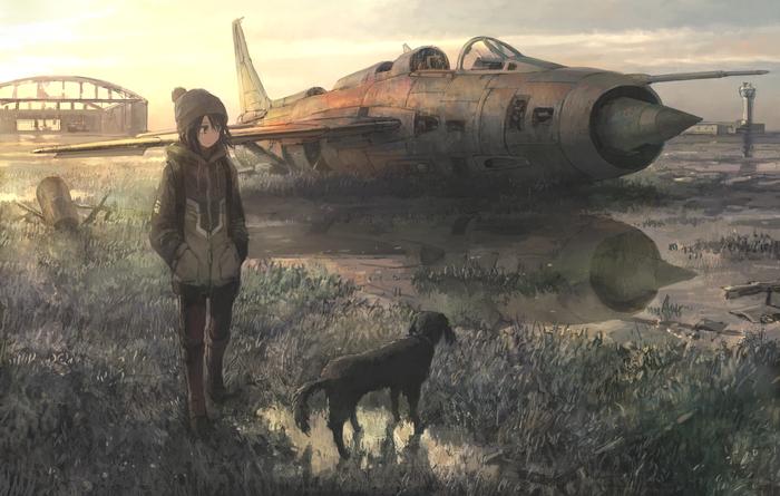Девочка и самолет Anime Original, Аниме, Не аниме, Самолет, Девочка, Арт, Tokunaga akimasa, Длиннопост