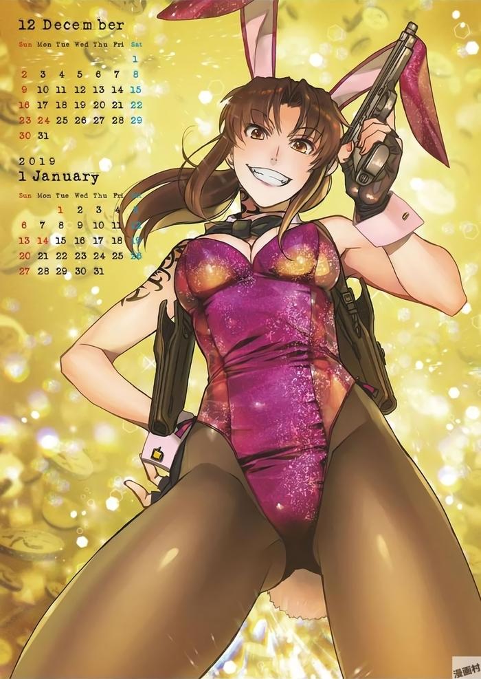 Календарь Чёрной Лагуны Bunnysuit, Revy, Anime Art, Black Lagoon