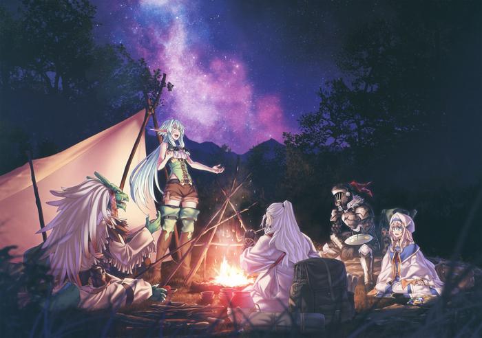 Убийца гоблинов Аниме, Anime Art, Goblin Slayer, Priestess, High Elf Archer, Dwarf Shaman, Lizard Priest, Kannatsuki Noboru