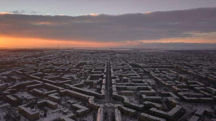 Уральская Барселона Магнитогорск, Фотография, Аэросъемка, Закат