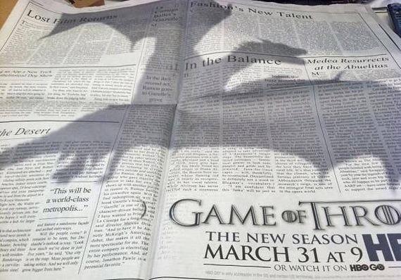 Реклама Игры престолов в газете New York Times