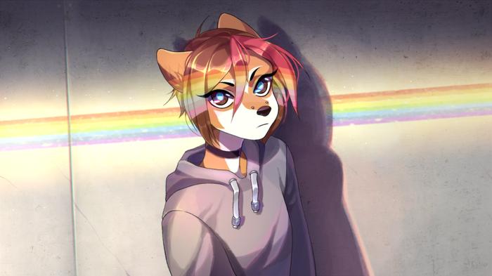 Rainbow Фурри, Furry Art, Furry Canine, Furry Dog, Радуги, Радугу, Радуга, Rokito