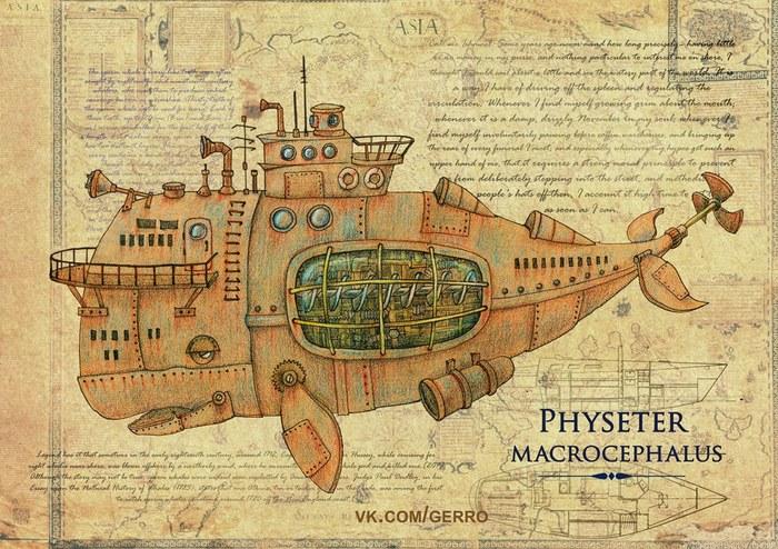 Upd Механические морские животные Рисунок, Стимпанк, Кит, Окунь, Photoshop, Краб, Длиннопост