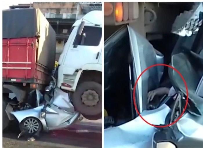 Очевидцы были уверены, что грузовики раздавили водителя, но он протянул им руку Бразилия, ДТП, Спасение жизни, Выжил, Гифка, Длиннопост, Авария, Везение