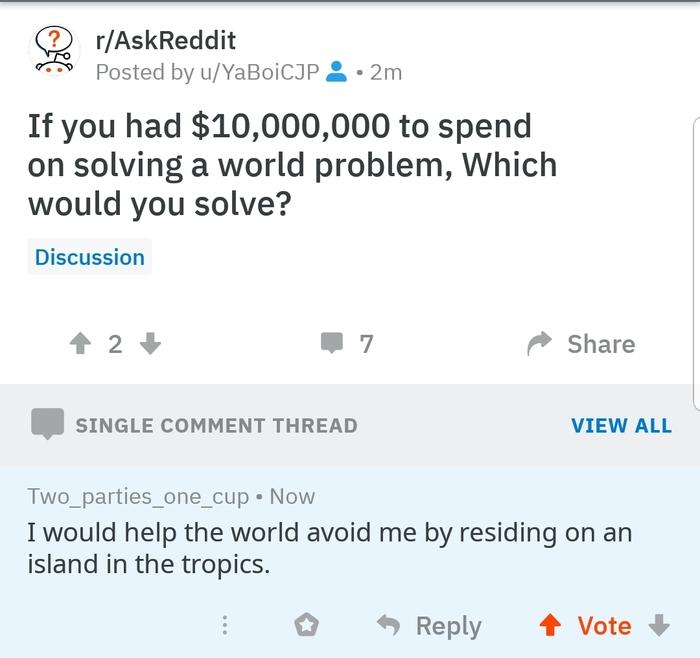 А что, так можно было? Askreddit, Вопрос-Ответ, Проблема, Остров, Тропики, Скриншот
