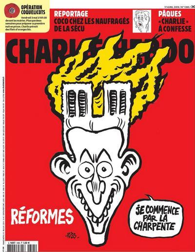 Карикатура Шарли Эбдо по поводу вчерашнего пожара. Charlie Hebdo, Карикатура, Франция, Париж, Notre Dame De Paris, Пожар Нотр Дам Де Пари, Текст