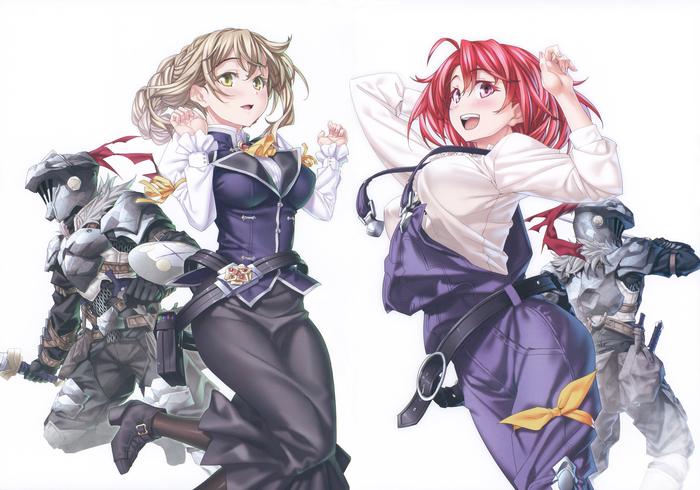 Goblin Slayer art Аниме, Anime Art, Goblin Slayer, High Elf Archer, Priestess, Guild Girl, Cow Girl, Kannatsuki noboru